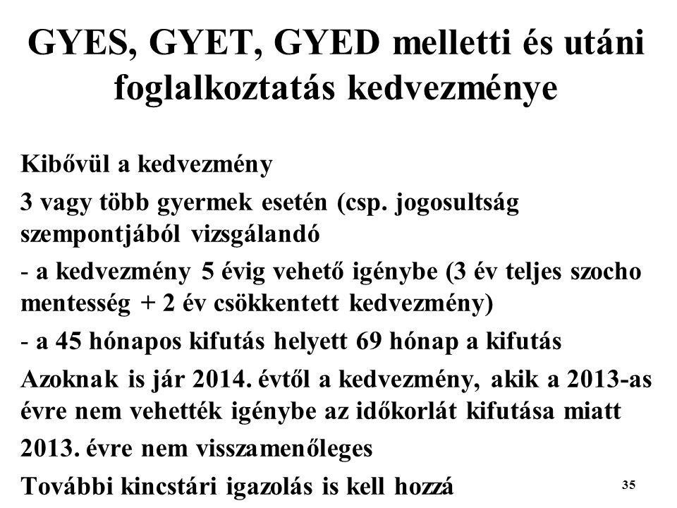 GYES, GYET, GYED melletti és utáni foglalkoztatás kedvezménye