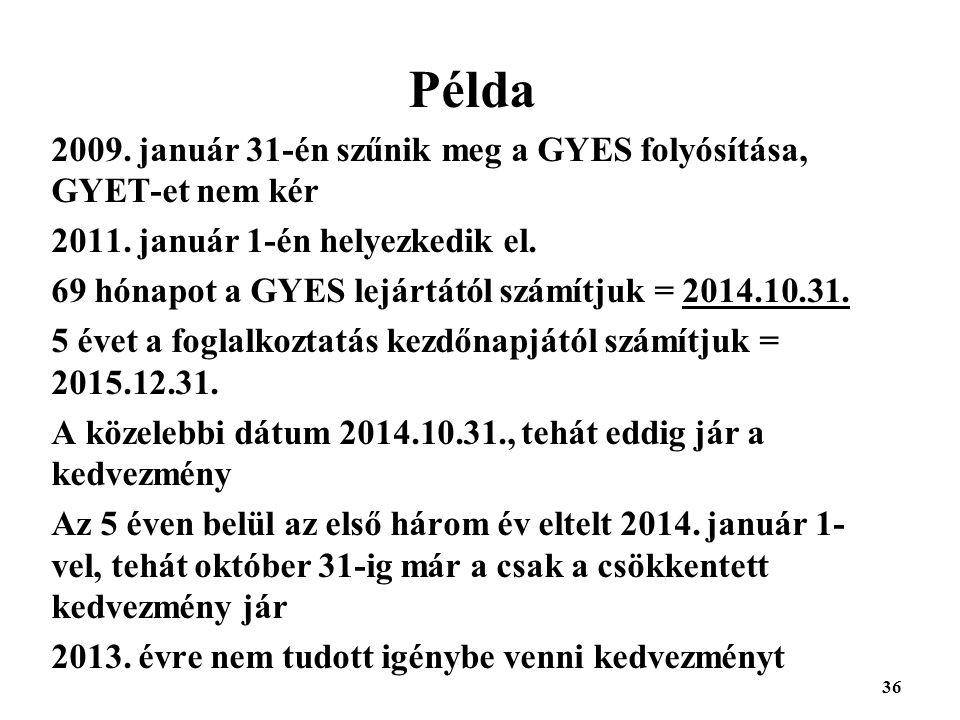 Példa 2009. január 31-én szűnik meg a GYES folyósítása, GYET-et nem kér. 2011. január 1-én helyezkedik el.