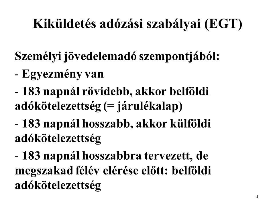 Kiküldetés adózási szabályai (EGT)