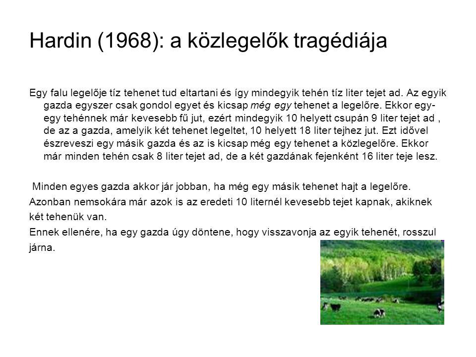Hardin (1968): a közlegelők tragédiája