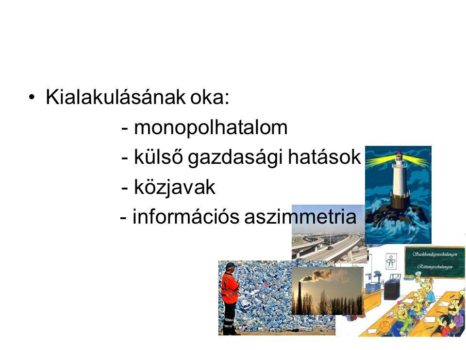 Kialakulásának oka: - monopolhatalom - külső gazdasági hatások - közjavak - információs aszimmetria