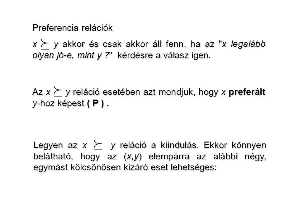 Preferencia relációk x y akkor és csak akkor áll fenn, ha az x legalább olyan jó-e, mint y kérdésre a válasz igen.