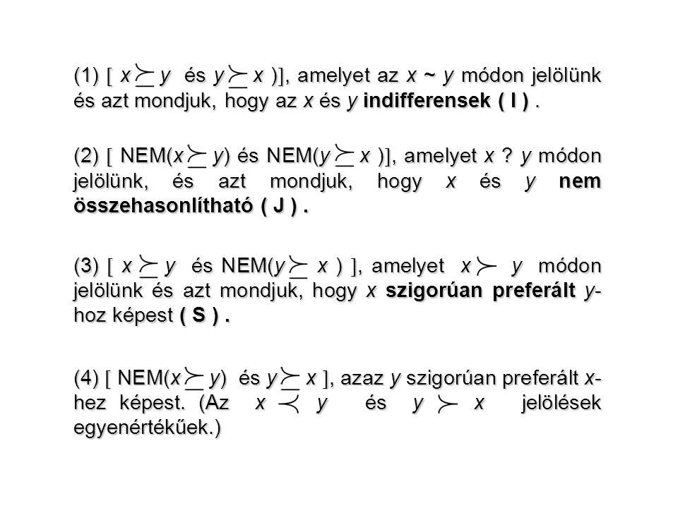 (1)  x R y és y R x ), amelyet az x ~ y módon jelölünk és azt mondjuk, hogy az x és y indifferensek ( I ) .