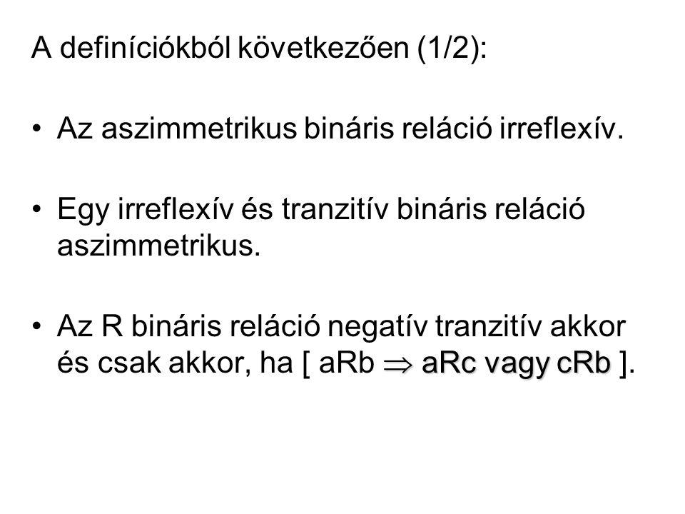 A definíciókból következően (1/2):