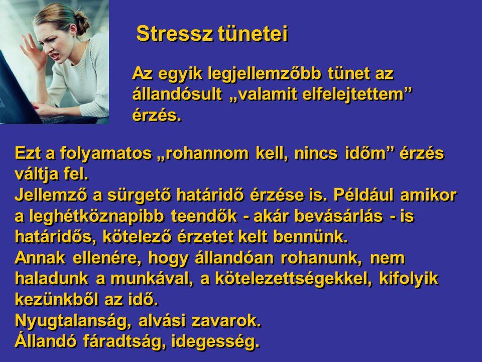 """Stressz tünetei Az egyik legjellemzőbb tünet az állandósult """"valamit elfelejtettem érzés."""