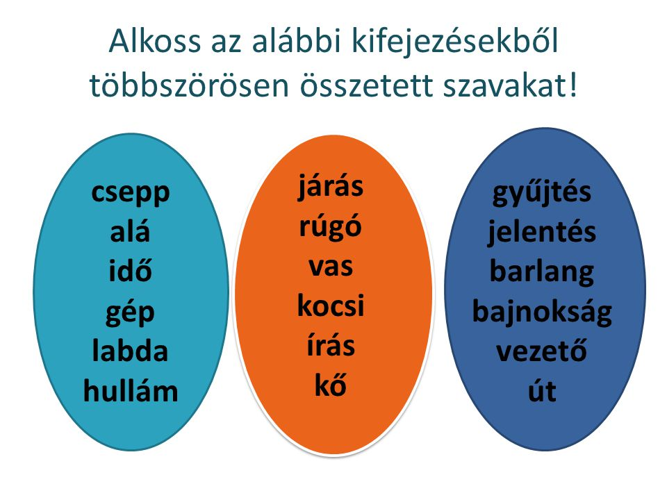 Alkoss az alábbi kifejezésekből többszörösen összetett szavakat!