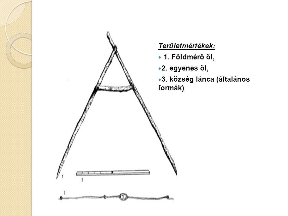 Területmértékek: 1. Földmérő öl, 2. egyenes öl, 3. község lánca (általános formák)