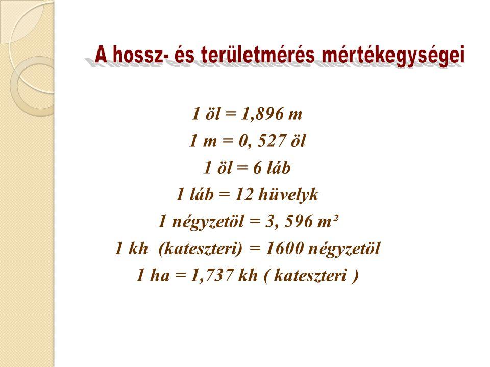 1 kh (kateszteri) = 1600 négyzetöl