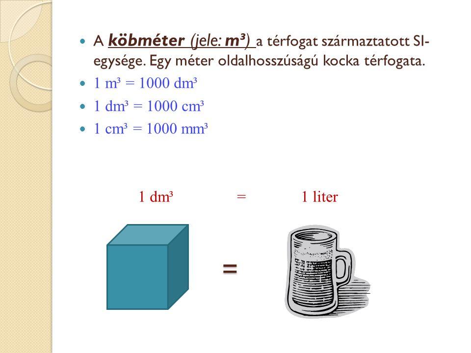 A köbméter (jele: m³) a térfogat származtatott SI- egysége