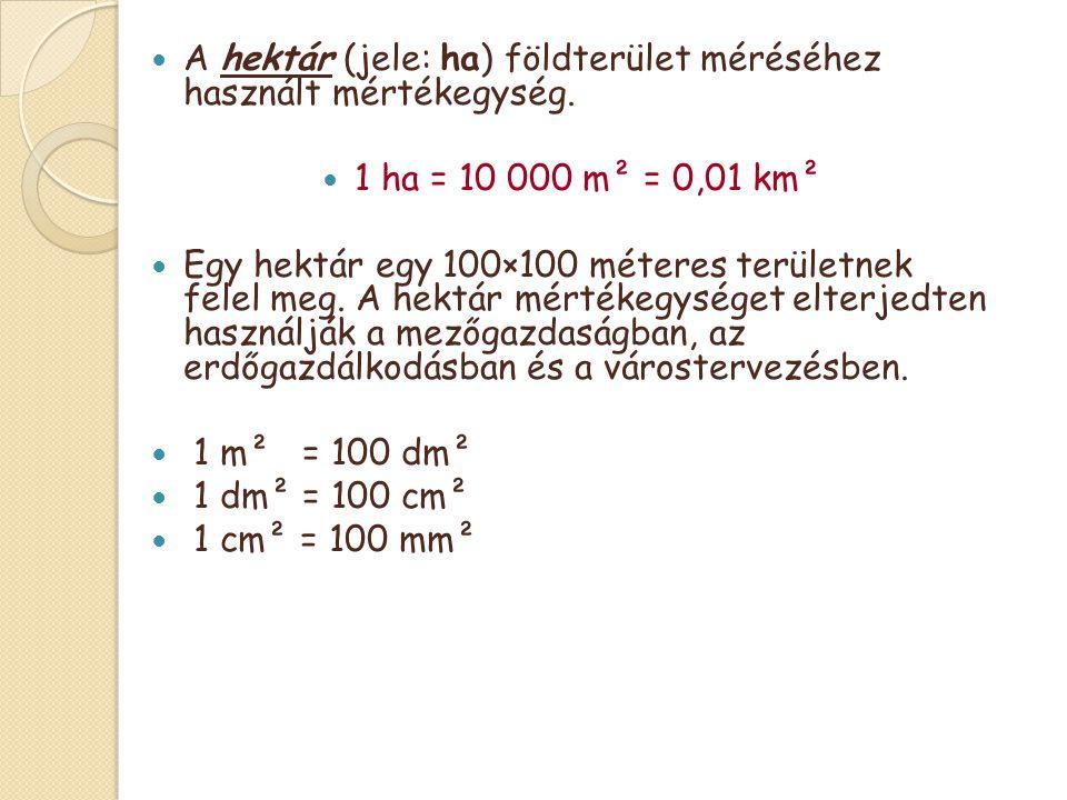 A hektár (jele: ha) földterület méréséhez használt mértékegység.