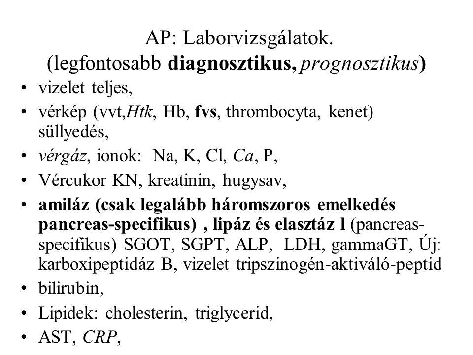 AP: Laborvizsgálatok. (legfontosabb diagnosztikus, prognosztikus)