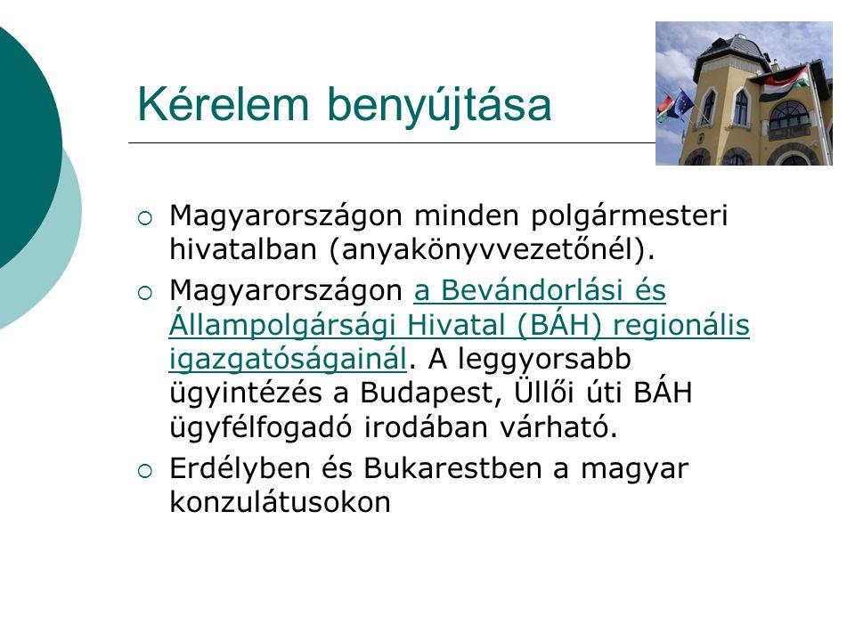 Kérelem benyújtása Magyarországon minden polgármesteri hivatalban (anyakönyvvezetőnél).