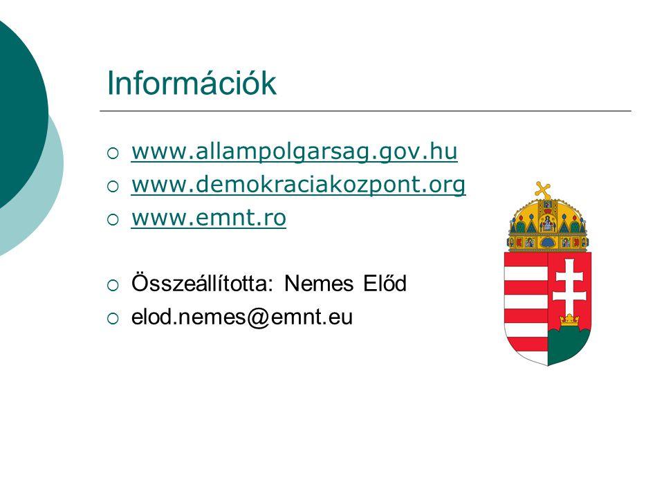 Információk www.allampolgarsag.gov.hu www.demokraciakozpont.org
