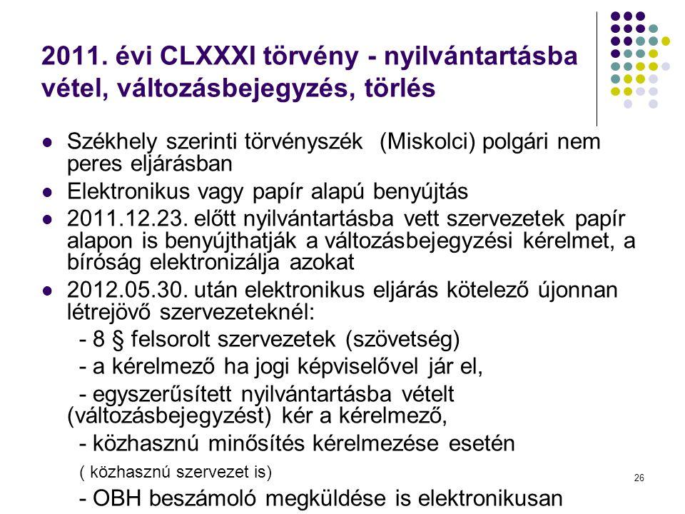 2011. évi CLXXXI törvény - nyilvántartásba vétel, változásbejegyzés, törlés