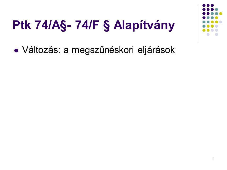 Ptk 74/A§- 74/F § Alapítvány