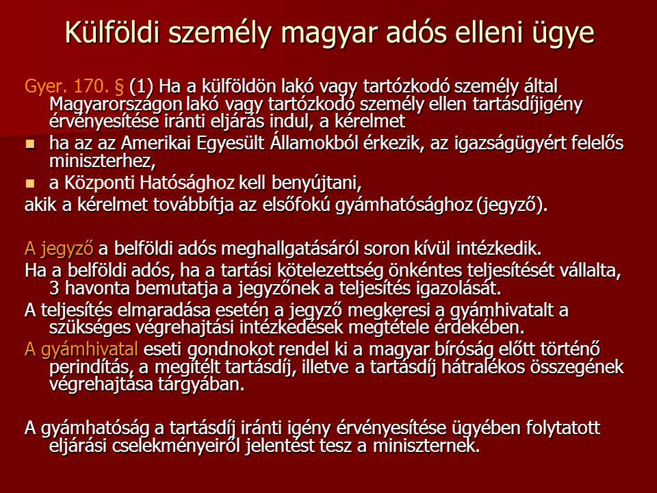 Külföldi személy magyar adós elleni ügye