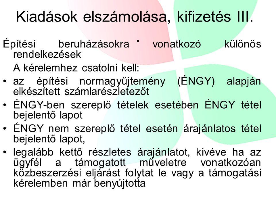 Kiadások elszámolása, kifizetés III. .