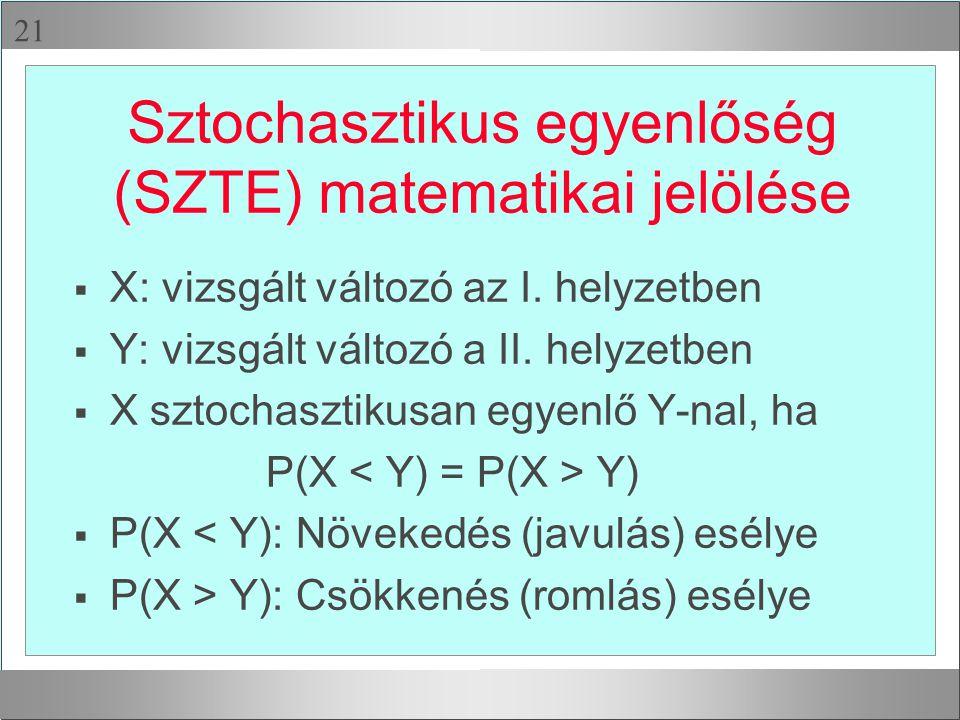 Sztochasztikus egyenlőség (SZTE) matematikai jelölése