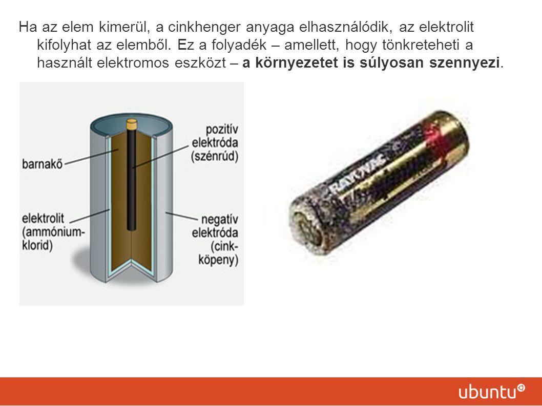 Ha az elem kimerül, a cinkhenger anyaga elhasználódik, az elektrolit kifolyhat az elemből.