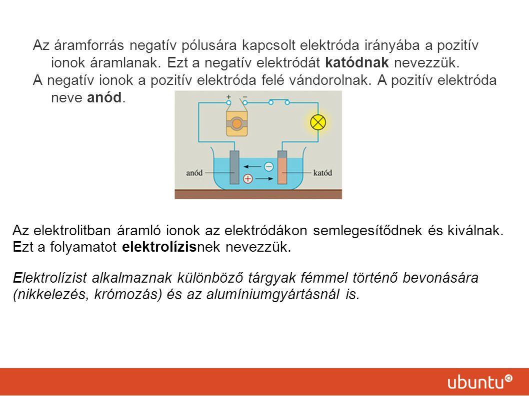Az áramforrás negatív pólusára kapcsolt elektróda irányába a pozitív ionok áramlanak. Ezt a negatív elektródát katódnak nevezzük.