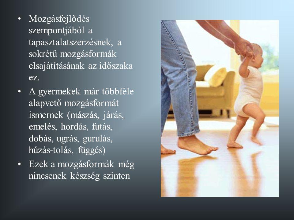 Mozgásfejlődés szempontjából a tapasztalatszerzésnek, a sokrétű mozgásformák elsajátításának az időszaka ez.