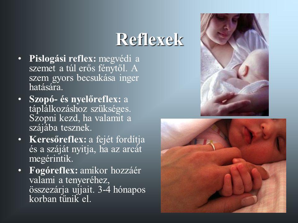 Reflexek Pislogási reflex: megvédi a szemet a túl erős fénytől. A szem gyors becsukása inger hatására.