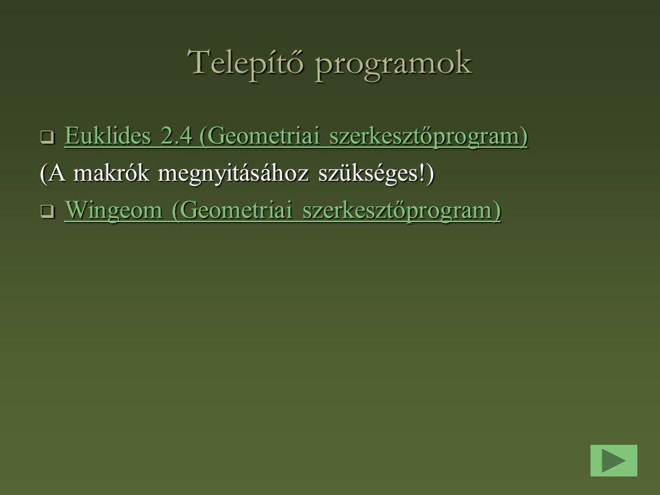 Telepítő programok Euklides 2.4 (Geometriai szerkesztőprogram)
