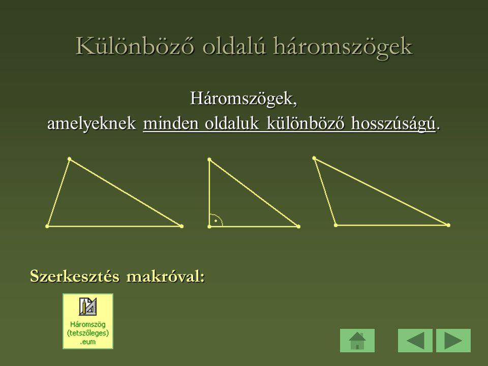 Különböző oldalú háromszögek