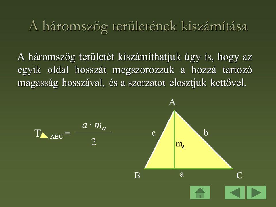 A háromszög területének kiszámítása
