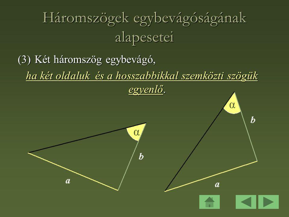 Háromszögek egybevágóságának alapesetei
