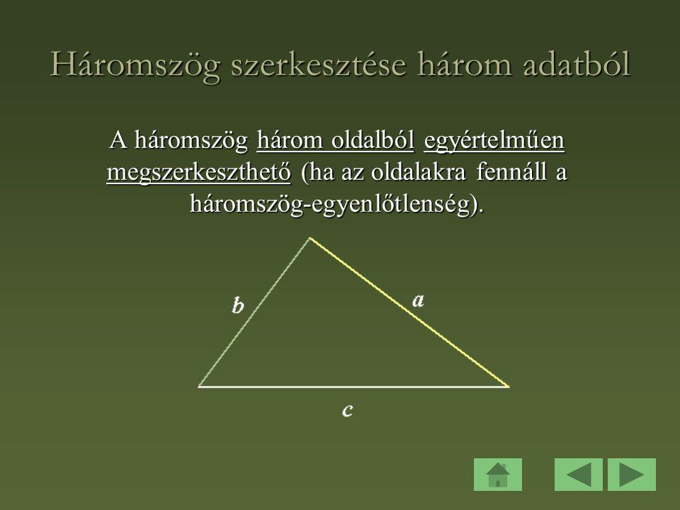 Háromszög szerkesztése három adatból