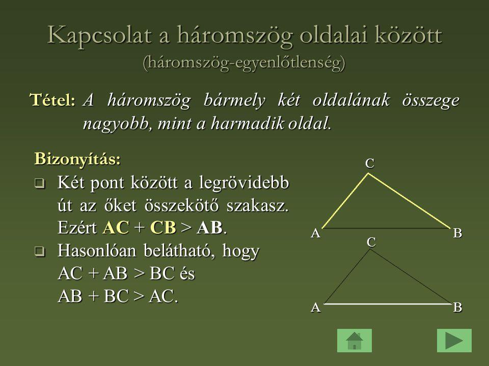 Kapcsolat a háromszög oldalai között (háromszög-egyenlőtlenség)