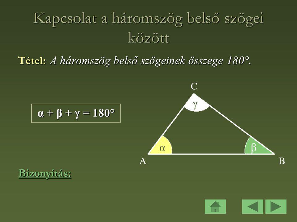 Kapcsolat a háromszög belső szögei között