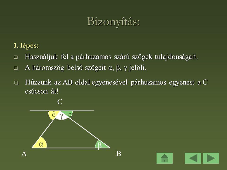 Bizonyítás: γ α β 1. lépés: