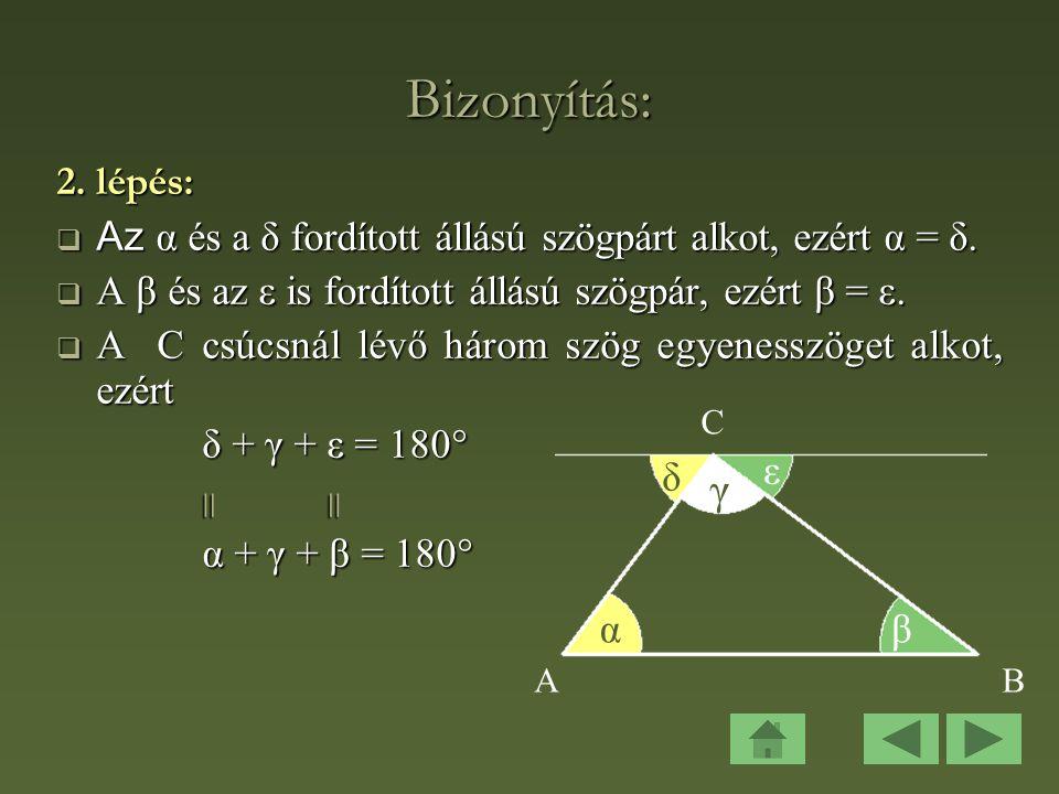 Bizonyítás: 2. lépés: Az α és a δ fordított állású szögpárt alkot, ezért α = δ. A β és az ε is fordított állású szögpár, ezért β = ε.