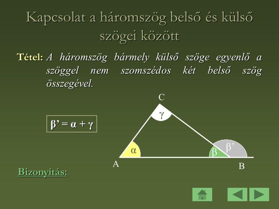 Kapcsolat a háromszög belső és külső szögei között