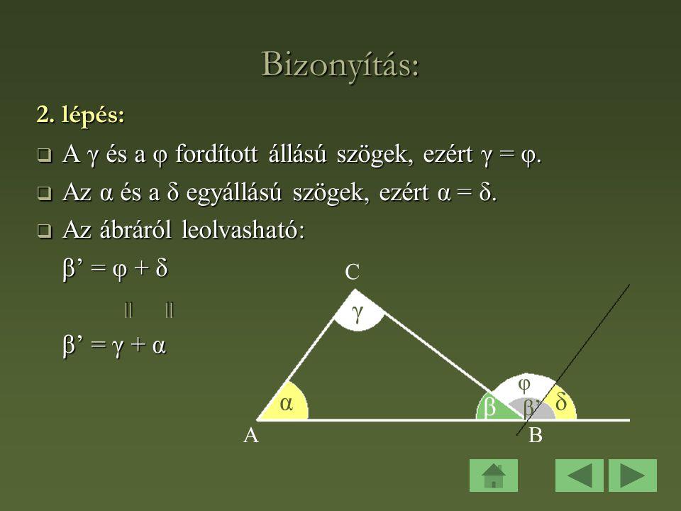 Bizonyítás: 2. lépés: A γ és a φ fordított állású szögek, ezért γ = φ. Az α és a δ egyállású szögek, ezért α = δ.