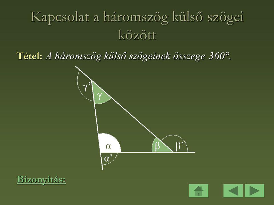 Kapcsolat a háromszög külső szögei között
