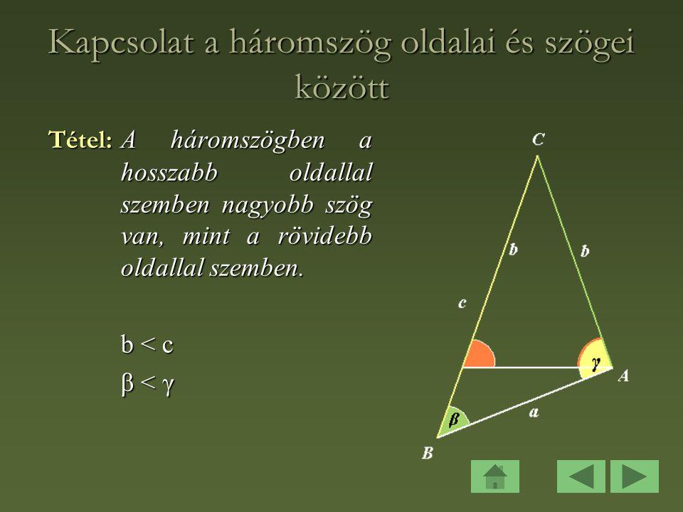 Kapcsolat a háromszög oldalai és szögei között
