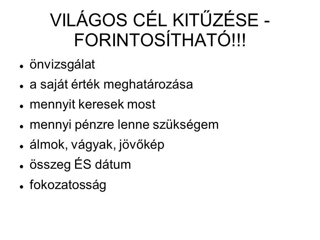 VILÁGOS CÉL KITŰZÉSE - FORINTOSÍTHATÓ!!!