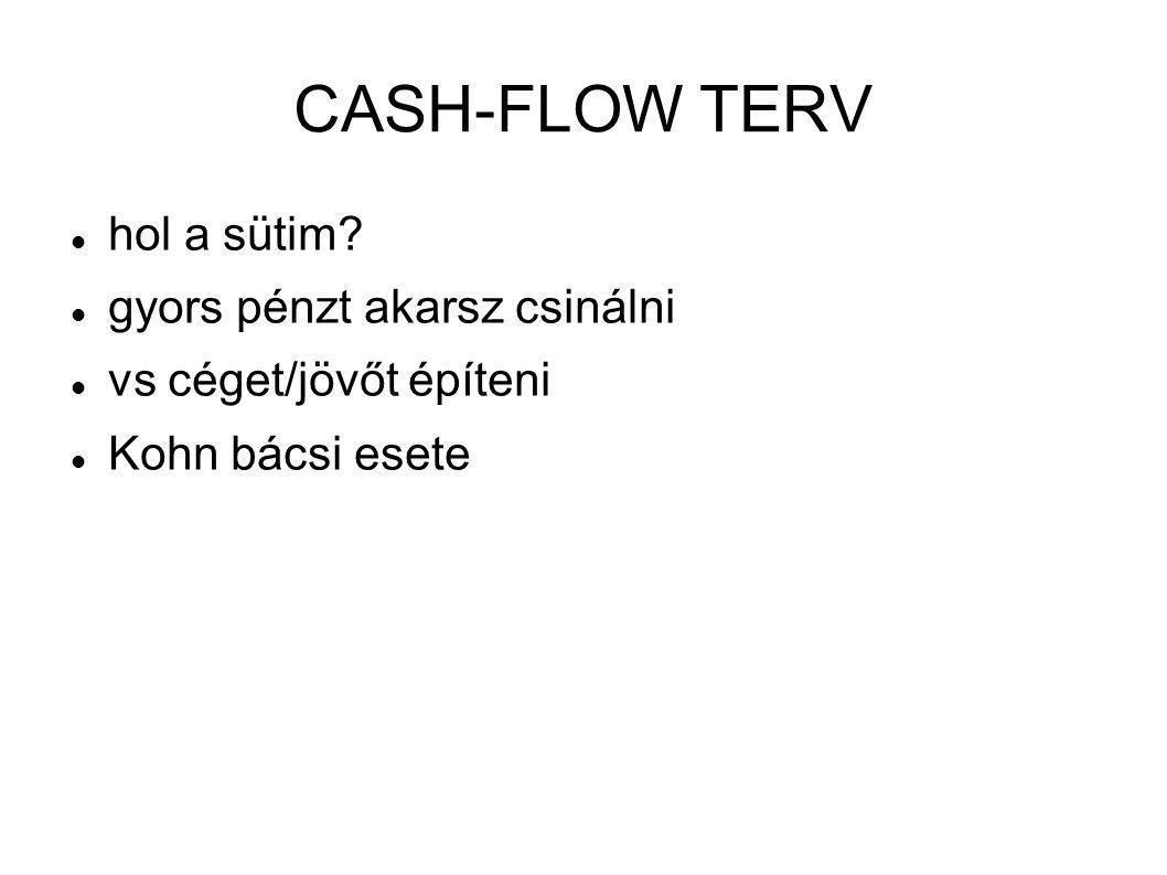 CASH-FLOW TERV hol a sütim gyors pénzt akarsz csinálni