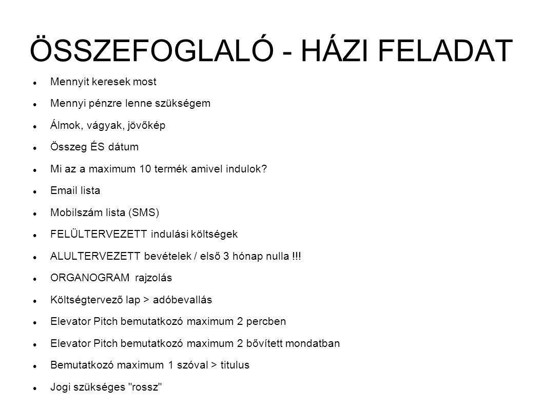 ÖSSZEFOGLALÓ - HÁZI FELADAT
