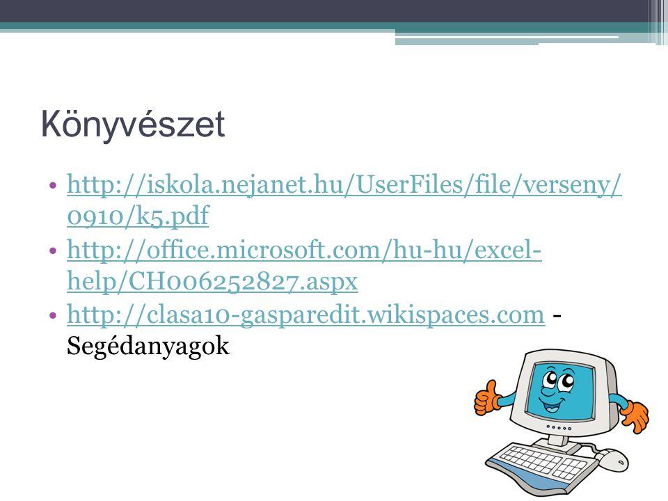 Könyvészet http://iskola.nejanet.hu/UserFiles/file/verseny/ 0910/k5.pdf. http://office.microsoft.com/hu-hu/excel- help/CH006252827.aspx.
