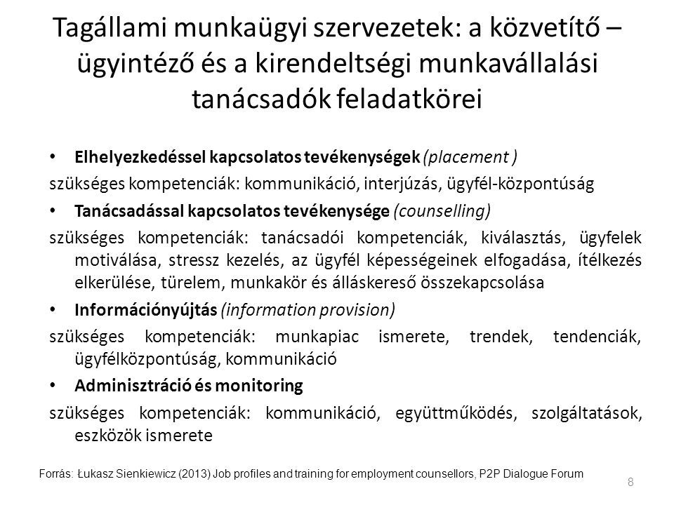 Tagállami munkaügyi szervezetek: a közvetítő –ügyintéző és a kirendeltségi munkavállalási tanácsadók feladatkörei