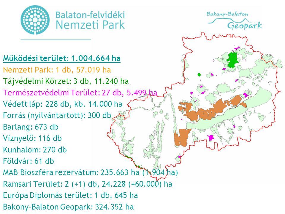 Működési terület: 1. 004. 664 ha Nemzeti Park: 1 db, 57