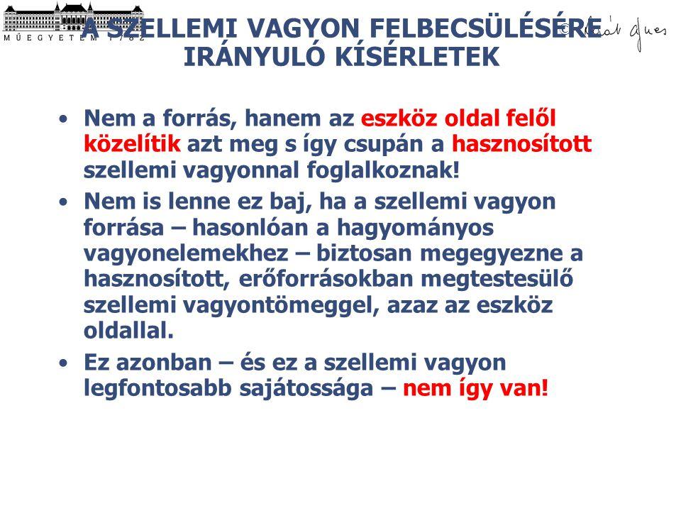 A SZELLEMI VAGYON FELBECSÜLÉSÉRE IRÁNYULÓ KÍSÉRLETEK