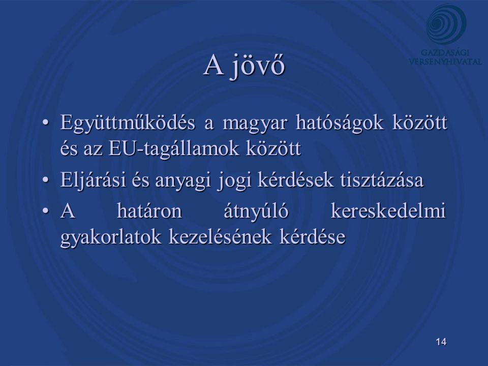 A jövő Együttműködés a magyar hatóságok között és az EU-tagállamok között. Eljárási és anyagi jogi kérdések tisztázása.
