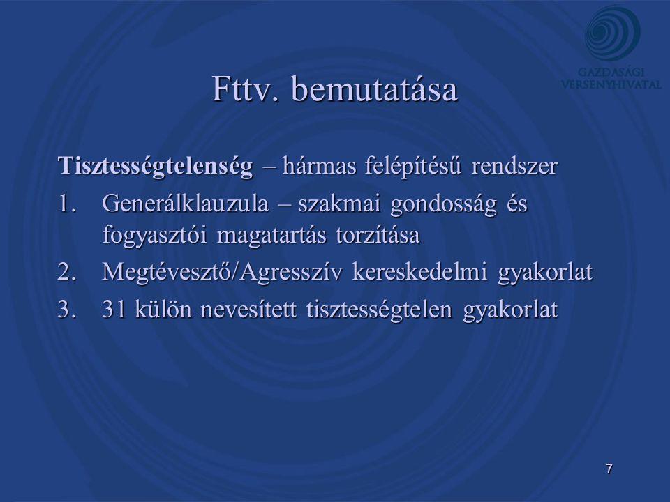 Fttv. bemutatása Tisztességtelenség – hármas felépítésű rendszer