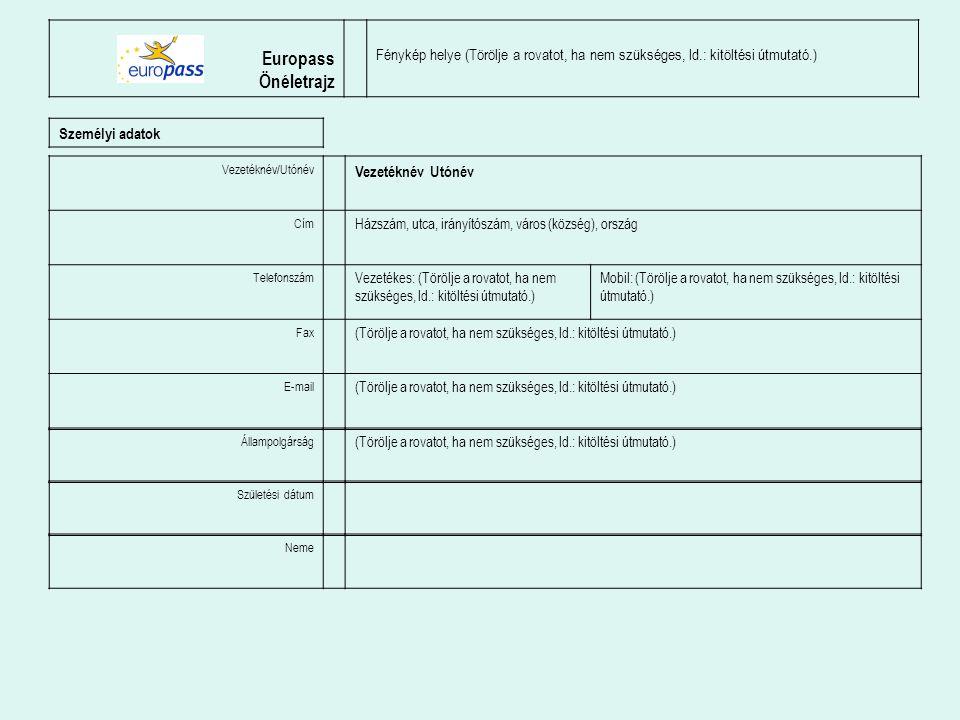 Europass Önéletrajz. Fénykép helye (Törölje a rovatot, ha nem szükséges, ld.: kitöltési útmutató.)