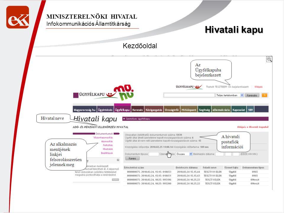 Hivatali kapu Kezdőoldal MINISZTERELNÖKI HIVATAL